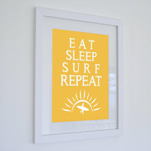 Eat Sleep Surf Repeat Print - Coastal Wall Art /Poster