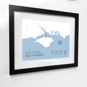 East Cowes Map Travel Print- Coastal Wall Art /Poster