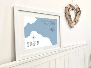 East Lothian Map Print - Coastal Wall Art /Poster