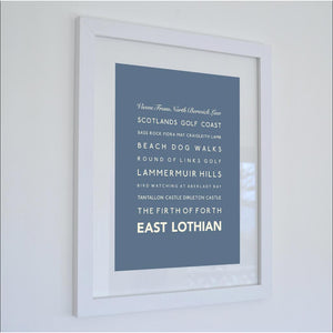 East Lothian Typographic Travel Print- Coastal Wall Art /Poster