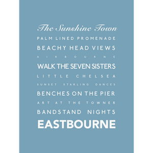Eastbourne Typographic Print- Coastal Wall Art /Poster