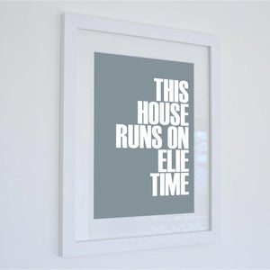 Elie Time Typographic Travel Print - Coastal Wall Art /Poster