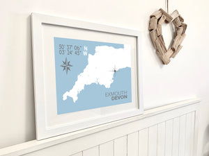 Exmouth Map Travel Print- Coastal Wall Art /Poster