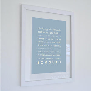 Exmouth Typographic Travel Print - Coastal Wall Art /Poster