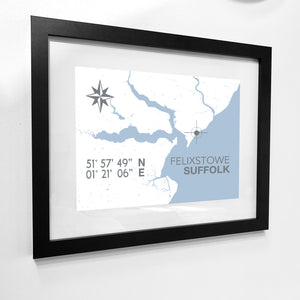 Felixstowe Nautical Map Print - Coastal Wall Art /Poster