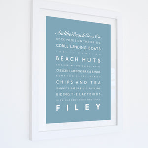 Filey Typographic Seaside Print - Coastal Wall Art /Poster