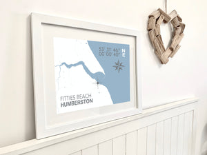 Fitties Beach Map Travel Print- Coastal Wall Art /Poster