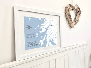 Glen Coe Map Print - Coastal Wall Art /Poster