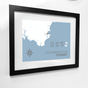 Goodrington Map Travel Print- Coastal Wall Art /Poster