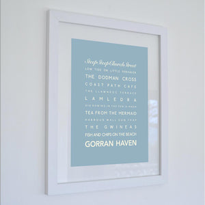 Gorran Haven Typographic Travel Print- Coastal Wall Art /Poster