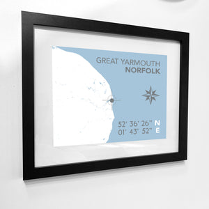 Great Yarmouth Map Travel Print- Coastal Wall Art /Poster