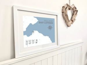 Gullane Map Print - Coastal Wall Art /Poster