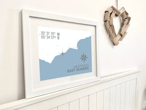 Hastings Map Travel Print- Coastal Wall Art /Poster
