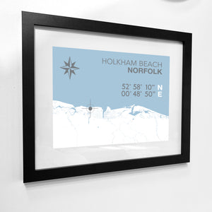 Holkham Beach Map Travel Print- Coastal Wall Art /Poster