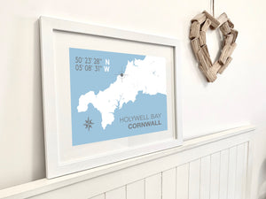 Holywell Bay Map Travel Print- Coastal Wall Art /Poster