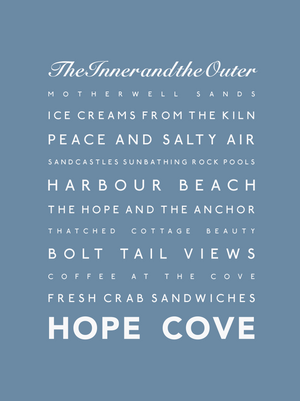 Hope Cove Typographic Travel Print - Coastal Wall Art /Poster