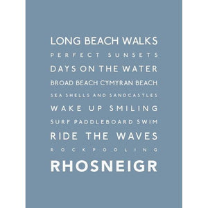 Rhosneigr Typographic Travel Print- Coastal Wall Art /Poster