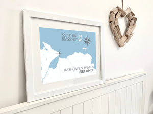 Inishowen Head Nautical Map Print - Coastal Wall Art /Poster