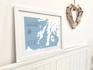 Isle of Arran Map Travel Print - Coastal Wall Art /Poster