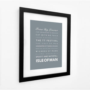 Isle of Man Typographic Travel Print - Coastal Wall Art /Poster