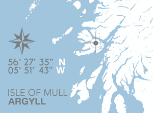 Isle of Mull Map Travel Print - Coastal Wall Art /Poster