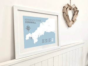 Kenneggy Cove Map Print- Coastal Wall Art /Poster