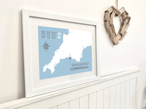 Kingsand Map Print- Coastal Wall Art /Poster