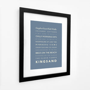 Kingsand Typographic Travel Print- Coastal Wall Art /Poster