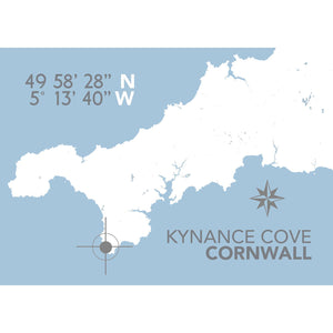 Kynance Map Print- Coastal Wall Art /Poster
