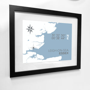 Leigh-on-Sea Map Travel Print- Coastal Wall Art /Poster