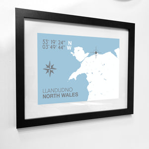 Llandudno Nautical Map Seaside Print - Coastal Wall Art /Poster