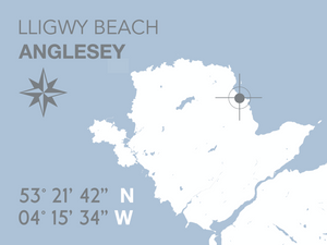 Lligwy  Beach Map Seaside Print - Coastal Wall Art /Poster