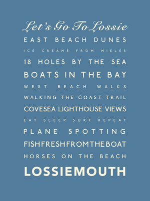 Lossiemouth Typographic Print - Coastal Wall Art /Poster