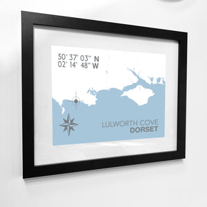 Lulworth Cove Map Travel Print- Coastal Wall Art /Poster