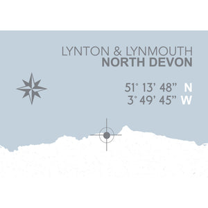 Lynton & Lynmouth Map Travel Print- Coastal Wall Art /Poster