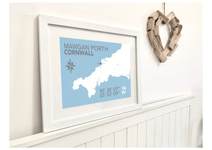 Mawgan Porth Map Travel Print- Coastal Wall Art /Poster