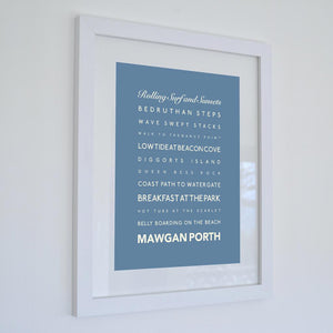Mawgan Porth Typographic Travel Print- Coastal Wall Art /Poster