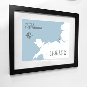 Meols Map Travel Print - Coastal Wall Art /Poster