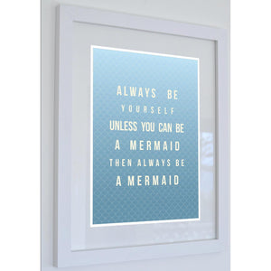 Mermaid Poem Typographic Print - Coastal Wall Art /Poster