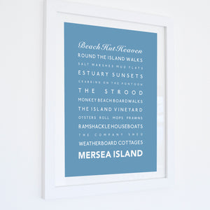 Mersea Island Typographic Travel Print- Coastal Wall Art /Poster