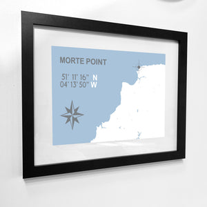 Morte Point Map Travel Print- Coastal Wall Art /Poster