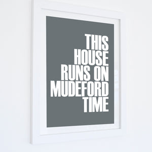 Mudeford Time Typographic Travel Print- Coastal Wall Art /Poster