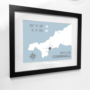 Mylor Nautical Map Print - Coastal Wall Art /Poster