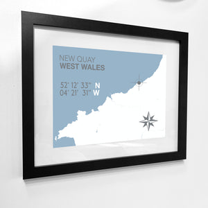 New Quay Map Seaside Print - Coastal Wall Art /Poster