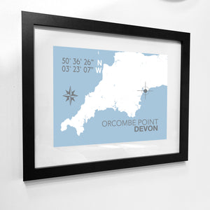 Orcombe Point Map Travel Print- Coastal Wall Art /Poster