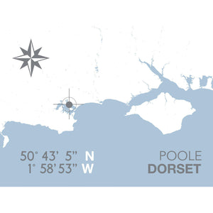 Poole Map Travel Print- Coastal Wall Art /Poster