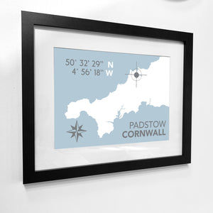 Padstow Nautical Map Print - Coastal Wall Art /Poster