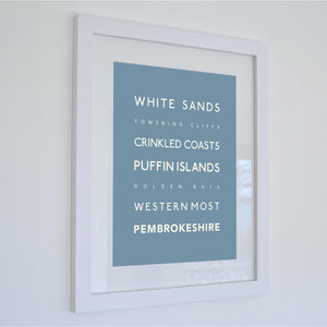 Pembrokeshire Typographic Seaside Print - Coastal Wall Art /Poster