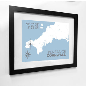 Penzance Map Seaside Print - Coastal Wall Art /Poster
