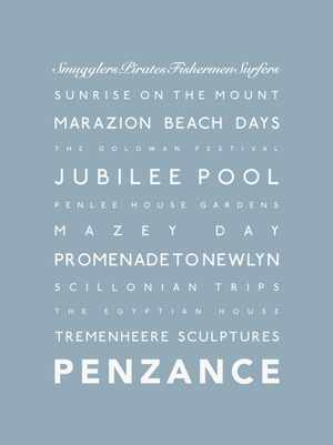 Penzance Typographic Seaside Print - Coastal Wall Art /Poster